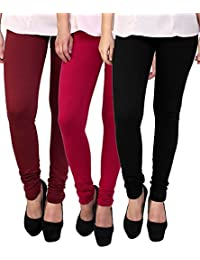 Superior Washer & Gasket Women's Cotton Stretched Leggings, XL(Black, Red and Maroon) - Pack of 3