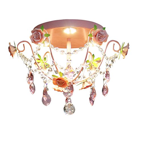 Dolsuml Mode Kinderzimmer Deckenleuchten Pendelleuchten Koreanische Art Floral Lampe S Rose Princess Crystal, 42Cm -