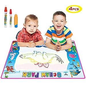 SGILE Juguete de Tablero de Dibujo Magnético, Dibujo Magna de Viaje Bloc de Dibujo y Escribe con 3 Sellos, Tablero de Dibujo Borrable Colorido No Tóxico para Niños Infantiles , Azul de SGILE