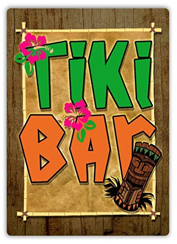 qidushop Tiki Bar Schild Cocktail Aloha Hawaii Blume Maske Retro Metall Wanddeko Kunst Shop Man Höhle Bar Garage Aluminium Schild