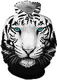 EUDOLAH Jungen 3D Druck Kaputzenpullover für Alter 4-13 Kinder Hoodie mit Aufdruck Langarm Bunt Kids Winter Fashion Blauäugiger Tiger XS