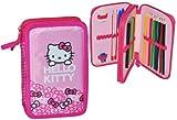 Unbekannt 23 tlg. gefüllte Federmappe Hello Kitty - doppelt - für Kinder Schiefermappe Schüleretui Federtasche Mädchen - Doppeldecker Kindergarten Schule