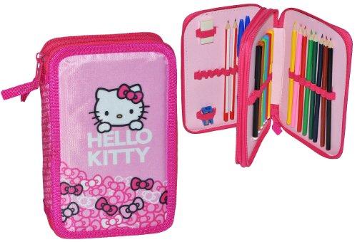 füllte Federmappe Hello Kitty - doppelt - für Kinder Schiefermappe Schüleretui Federtasche Mädchen - Doppeldecker Kindergarten Schule ()