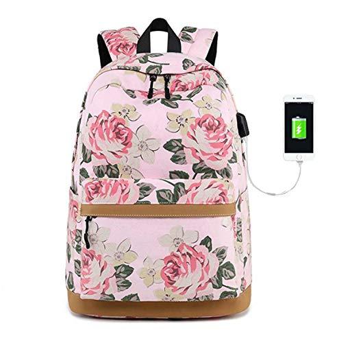 DNFC Canvas Rucksack Damen Mädchen Schulrucksack Schulranzen Teenager Schultaschen Blumen Freizeitrucksack Mode Daypack mit USB Ladeanschluss Backpack für Frauen (Pink) -