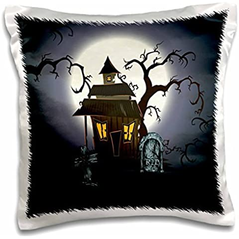 Designs Halloween Designs - Spooky Haunted House Halloween Scene With Gravestones and Spooky Trees - 16x16 inch Pillow Case
