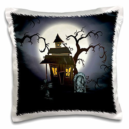 Designs Halloween Designs - Spooky Haunted House Halloween Scene With Gravestones and Spooky Trees - 16x16 inch Pillow Case - Haunted House Scena