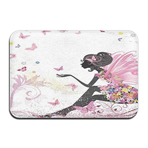 ITSHHMB Water Absorbent Bath Mat Non-Slip Rubber Back Microfiber, Abstract Silhouette of A Girl with Pink Wings and A Floral Dress Spring Fairy,for Living Room Rugs Bedroom (Spring Fairy Wings)