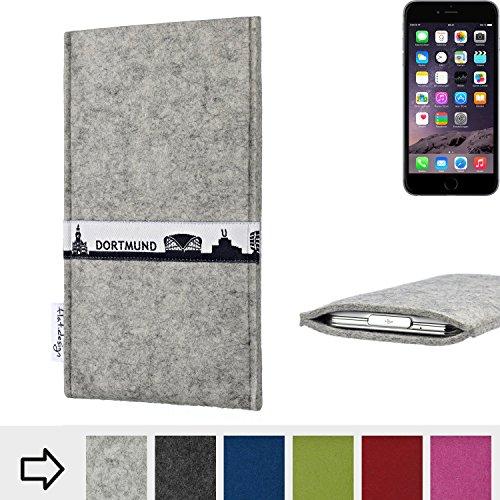 flat.design Filztasche SKYLINE mit Webband Dortmund für Apple iPhone 6 - passgenaue Filz Schutzhülle aus 100% Wollfilz (anthrazit) - Case im Slim fit Design für Apple iPhone 6 hellgrau