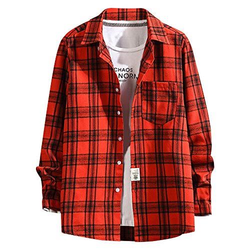 TYTUOO Herrenhemd Lässig Poket Fashion Business Plaiddruck Lose Langarmshirts Blusen
