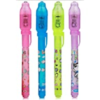 SINBUG Invisible ink magic pen with uv light spy detective pen (PACK OF 4)