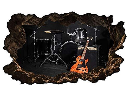 3D Wandtattoo Musik Schlagzeug Gitarre Bühne Wandmotiv Wohnzimmer Wand Aufkleber sticker 11H957_P, Wandbild Größe E:ca. 162cmx97cm