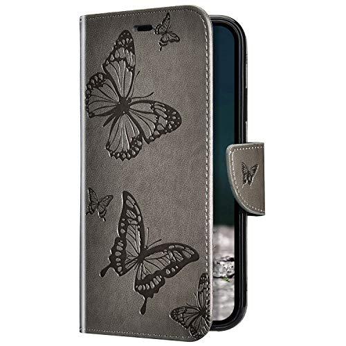 Uposao Kompatibel mit Samsung Galaxy A7 2018 Hülle Vintage Dünne Handyhülle Schmetterling Muster Flip Brieftasche Schutzhülle Karte Halter Leder Hülle Case Ledertasche Ständer Klapphülle,Grau