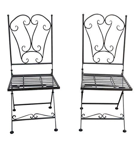 2x Gartenstuhl Eisen Stuhl Klappstuhl Antik-Stil Metall schwarz Bistrostuhl