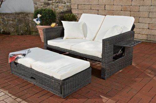 CLP Poly-Rattan 2er Lounge-Sofa ANCONA, ALU-Gestell, Fußteil ausziehbar, flexibel verstellbar