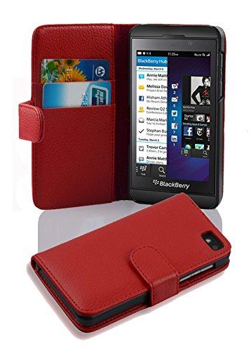 Cadorabo Hülle für Blackberry Z10 - Hülle in INFERNO ROT – Handyhülle mit Kartenfach aus struktriertem Kunstleder - Case Cover Schutzhülle Etui Tasche Book Klapp Style