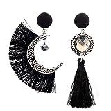 Fossrn Pendientes Mujer Largos Flecos Asimetría Sol y Luna Bohemio Borla Colgar Aretes (Negro)