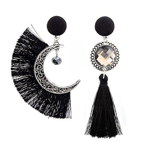 199a66b16659 Fossrn Pendientes Mujer Largos Flecos Asimetría Sol y Luna Bohemio Borla  Colgar Aretes (Negro)