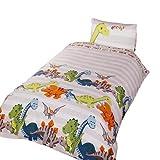 Dinosaur - Juego de Fundas nórdico/edredón cama individual para niños (Cama de 90/Carne)