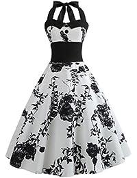 54e7fa8d30b Sexy Femme Robe Vintage Floral Bodycon sans Manches Casual Robe de Soirée  Prom Swing Robe 1950  s Style Audrey Hepburn Rockabilly…
