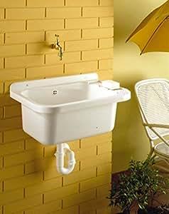 waschbecken ausgussbecken mit ablaufgarnitur aus schlagfestem kunststoff und flexiblen siphon. Black Bedroom Furniture Sets. Home Design Ideas
