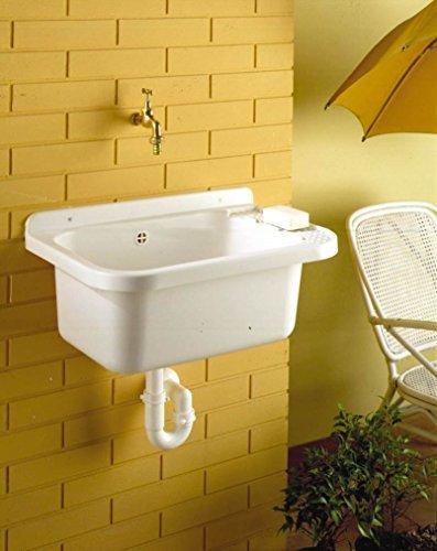 Waschbecken, Ausgussbecken mit Ablaufgarnitur aus schlagfestem Kunststoff und flexiblen Siphon in Weiß. Maße ca. BxTxH in cm: 58 x 40 x 27 cm