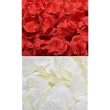 iLoveCos Flores Artificiales Pétalos de Rosa en Seda para Decoración Bodas Fiestas Confeti 2000Uds. (rojo+marfil)