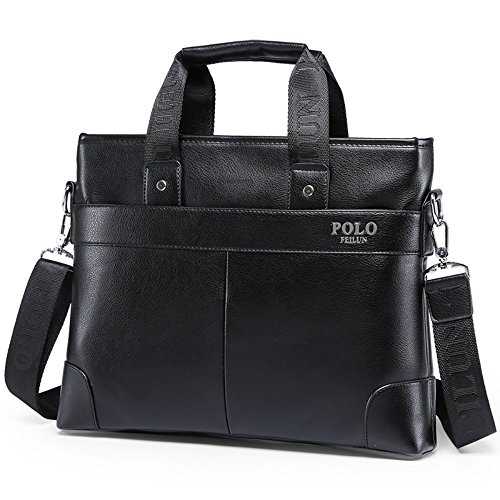 08fffdd907e7 POLO FEILUN Classic Leather Briefcase for men Business Handbag Shoulder  Messenge