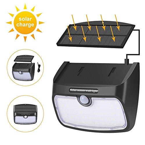 TiooDre - Lámpara de pared con sensor de movimiento solar desmontable, ahorro...