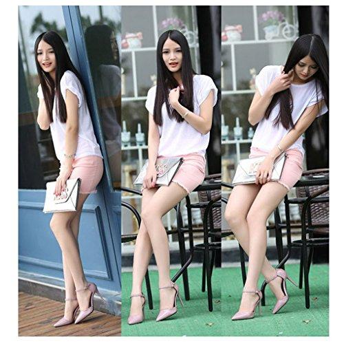 Evedaily Femme Escarpins Bride Cheville Bout Pointu Vernis Sexy Talon Haut Aiguille 10.5 CM Chaussures de Soiree Mariage Couleur nude