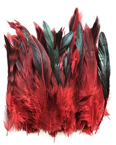 Ergeob panax gallo piume circa 100 pezzi lunghezza 12-18 cm, ideale per carnevale, halloween, artigianato, handwerk, fai-da-te, abbigliamento, costumi rosso