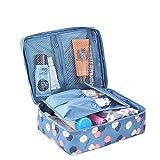 Amoyie - Beauty case donna da viaggio + Una custodia per spazzolino da denti in silicone, borsa da toilette, cosmetici borsa per accessori bagno, blu