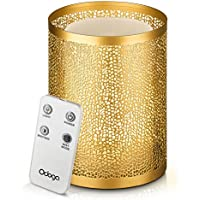 Odoga Aromatherapy Essential Oil Diffuser, 100mL Ultrasonic Whisper Quiet Cool Mist Humidifier with Warm White Color Candle Light Effect, Gold Iron Cover, Low Water Auto Shut-Off & Remote Control