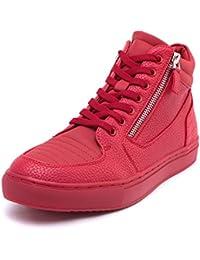 efbaef3c19cadf MForshop Scarpe Uomo Ginnastica Sneakers Alta Eco Pelle Cerniera Stringata  Fitness y47
