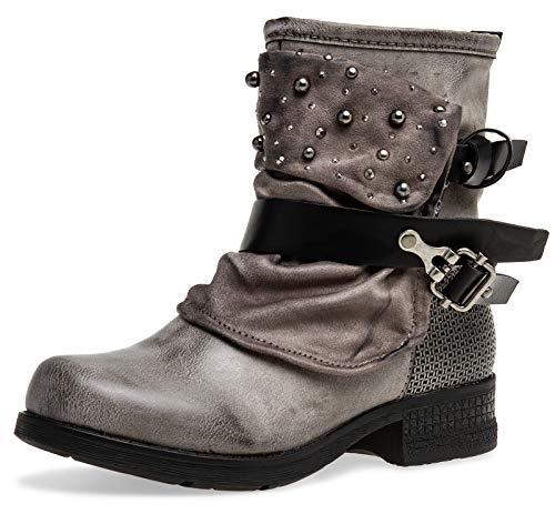 Caspar SBO094 Damen Vintage Gamaschen Boots mit Perlen Strass Dekor, Farbe:grau, Größe:38 EU