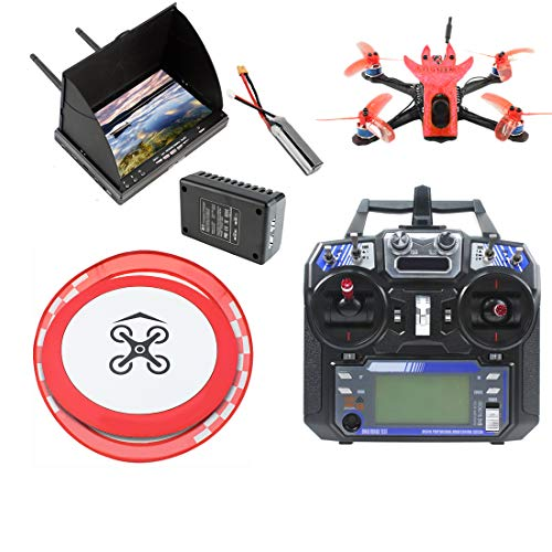 Qwinout Featherbird-135 135mm Brushless FPV Racing Drone 2S DIY RC Quadcopter RTF with MiniF4 FC Flysky FS I6 Remote Controller FPV Display Apron Racing Gate (red)