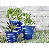 Store Indya, Conjunto de interior de 3 jardineras, Macetas artesanales en azul con recubrimiento de polvo de hierro, al aire libre Jardin Accesorios