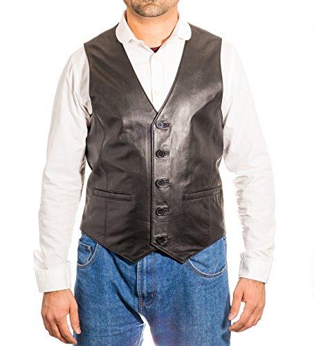Veste ŽlŽgante classique ˆ cinq boutons de blazer / de gilet de cuir de classique de cinq boutons Noir