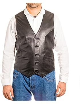Chaqueta de cuero cl‡sica elegante del chaleco de la chaqueta de cuero del bot—n cl‡sico cinco de los hombres