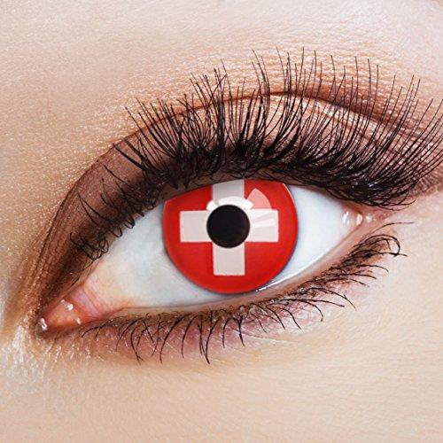 aricona Farblinsen Farbige Kontaktlinse Flagge Schweiz   – Deckende Jahreslinsen für dunkle und helle Augenfarben ohne Stärke, Farblinsen für Karneval, Fasching, Motto-Partys und Halloween Kostüme