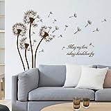 kuamai Fliegende Pusteblume Wandaufkleber DIY Abnehmbare Garten Pflanze Dekoration Schlafzimmer Wohnzimmer Glastür Aufkleber Wandbild Aufkleber