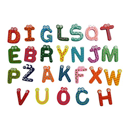 Magnet Toy , Honestyi - 26 Letters Wooden Cartoon Fridge Magnet kid Baby Educational Toy