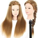Testa di manichino per la pratica dei parrucchieri con capelli sintetici lunghi 66cm