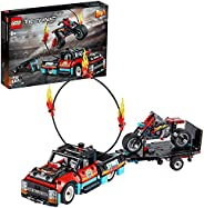 LEGO 42106 Technic Stunt Show Truck and Bike Toys Set, 2-in-1Model with Pull Back Motor and Trailer
