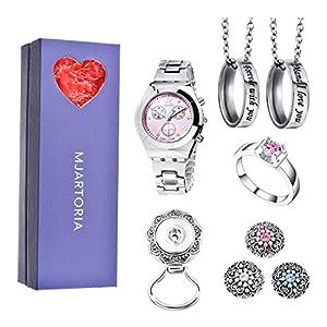 MJARTORIA Damen Vintage Schmuckset für Frauen Freundin Mama Kette Armband Uhr Schlüsselring 4 Schmuckstück Rosa Stein