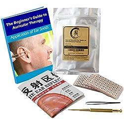 Akupunktur Vaccaria Ohrsamen 600 Stück, eBook 19 Gesundheitsprobleme, Ohrsonde, Englisch/ Chinesisch Platzierungsdiagramm, Pinzette