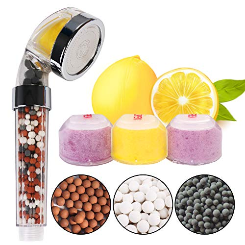 Vicloon Handbrause, Duschkopf mit Vitamin C/E(Jede Art hat 2), Filtration Brausekopf umfassen 3 Arten Negativen Ionen Bälle, für Wassersparend, Erhöht Den Druck, Entfernt Chlor, Chloramin & Fluorid