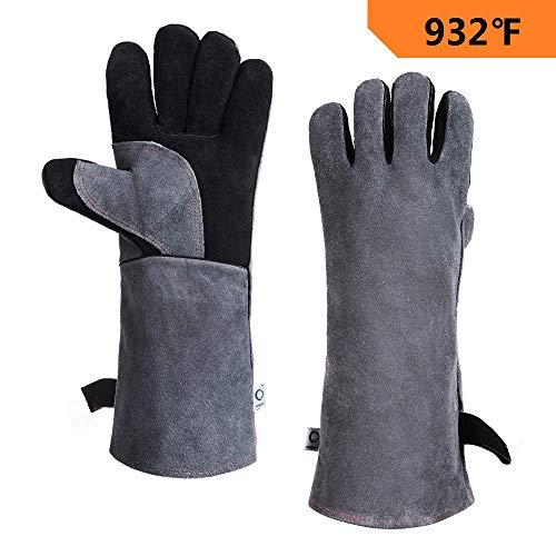CCBETTER Schweißerhandschuhe Leder 40cm Extra Lange Ärmel 932℉ Hitzefeste Grill Handschuhe Leder BBQ Handschuhe Schweißhandschuhe (Schwarz)
