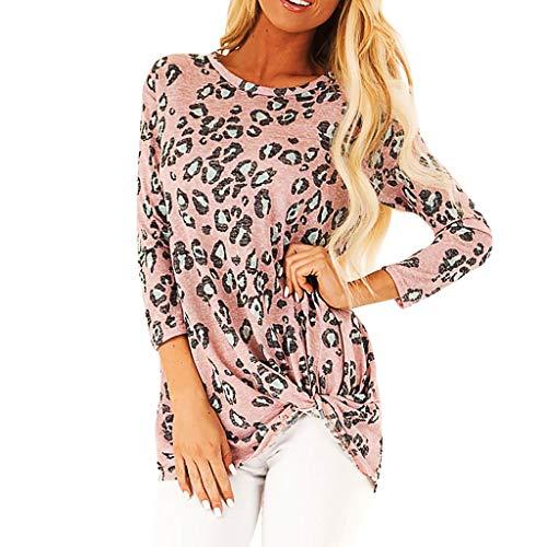 Xmiral Bluse Damen Leopard Drucken Hemd Elegant Geknotet Saum Tops Shirt Pullover Slim Fit Sweatshirts Outdoor Sportbekleidung(Rosa,XXL)