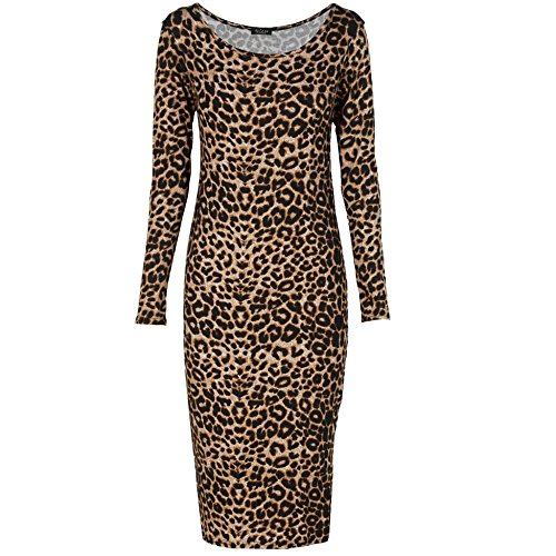 Simply Chic Outlet SCO New Womens Brown Leopard Print Long Sleeve Midi Dress Top (ML)