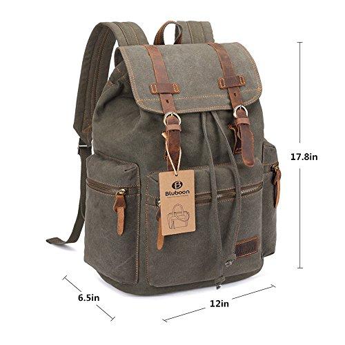 Imagen de bluboon vintage  de lona para hombre/mujer casual backpack canvas rucksack verde  alternativa